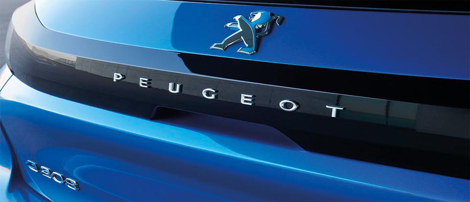 peugeot e208 achtekant blauw logo
